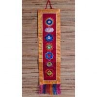 Broderie tibétaine bordeaux/jaune les 7 chakras