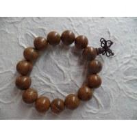 Bracelet tibétain perles en bois teint