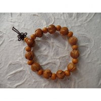 Bracelet tibétain perles sculptées