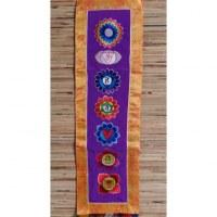 Broderie tibétaine violet/jaune les 7 chakras
