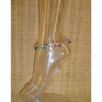 Bracelet de cheville rose grelots et perles color
