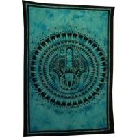 Tenture bleue khamsa fleur de lotus