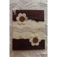 Mini carte 2 fleurs blanches/marron