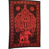 Tenture arbre de vie et éléphant rouge