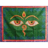 Tenture verte Bouddha eyes