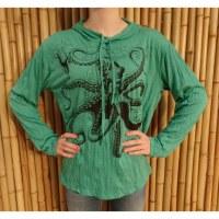 T shirt manches longues vert poulpe
