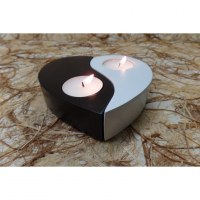 Bougeoir coeur yin yang blanc/noir