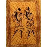 Tenture jaune les deux africaines