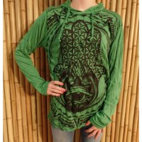 T shirt manches longues vert khamsa fleur