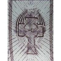 Tenture bleue dragon et croix celte