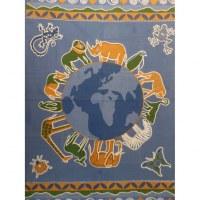 Tenture planète animaux d'Afrique bleu