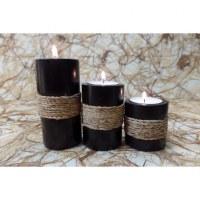 Bougeoirs tubes en manguier