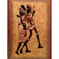 Tenture jaune/marron balade africaine