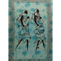 Tenture bleue les deux africaines