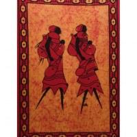 Tenture orange/rouge les deux africaines