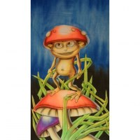 Tenture fluo champi grenouille