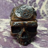 Cendrier marron 1/2 crâne tribal