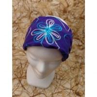 Fichu violet brodé flore