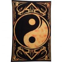 Tenture yin yang noir/orange