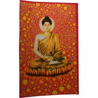 Tenture bulles Bouddha zen orange/rouge