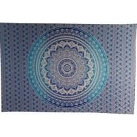Tenture blanche lotus bleu