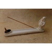 Porte encens blanc Bouddha chinois debout