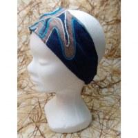 Fichu/bandeau délavé bleu foncé bordado