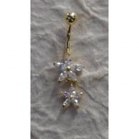 Piercing nombril duo de fleurs plaqué or & strass pendant