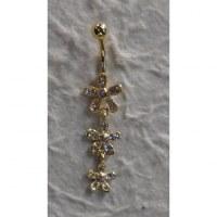 Piercing nombril 3 fleurs plaqué or & strass pendant