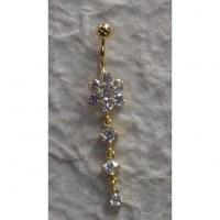 Piercing nombril flower plaqué or & strass pendant