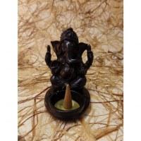 Porte encens/porte bougie noir Ganesh