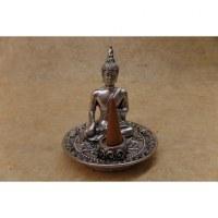 Porte encens gris Bouddha bhumisparsa