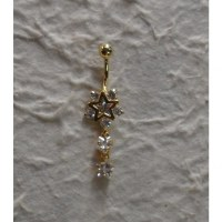 Piercing nombril étoile plaqué or & strass pendant