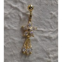 Piercing nombril fleur 5 pétales plaqué or & strass 3 pendants