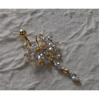 Piercing nombril butterfly plaqué or & strass pendant