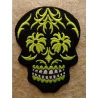 Ecusson tête de mort noir/vert fluo