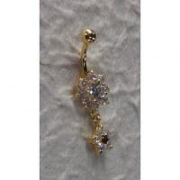 Piercing nombril duo de fleurs plaqué or & strass
