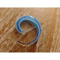Elargisseur d'oreille spirale blanc/bleu