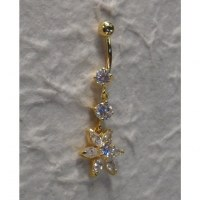 Piercing nombril plaqué or & strass pendant 1 fleur