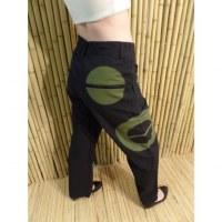 Pantalon noir/vert
