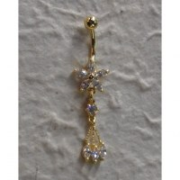 Piercing nombril fleur 5 pétales 1 perle plaqué or & strass 3 pendants