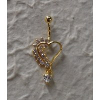 Piercing nombril coeur plaqué or & strass