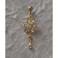 Piercing nombril papillon plaqué or & strass pendant