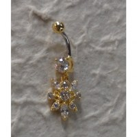 Piercing nombril bijou plaqué or & strass