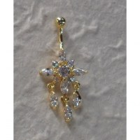 Piercing nombril edelweiss plaqué or & strass