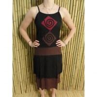 Robe d'été noire/marron motifs spirales