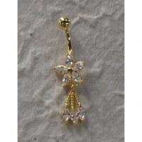 Piercing nombril fleurs 5 pétales plaqué or & strass 3 pendants