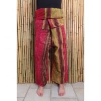 Pantalon Thaï rayé rouge/vert