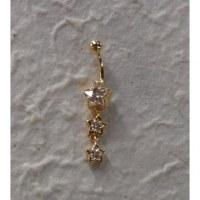 Piercing nombril plaqué or & strass 3 étoiles