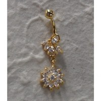 Piercing nombril plaqué or & strass soleil